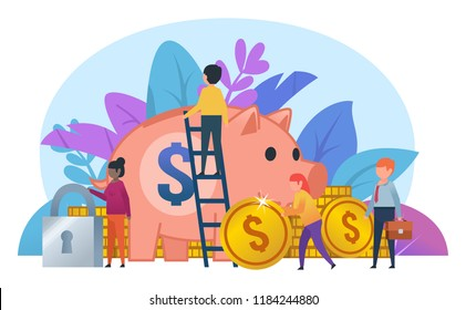 Small people working near big piggy bank, golden coins. Secure savings, financial growth concept. Business poster for presentation, social media, banner, web page. Flat design vector illustration