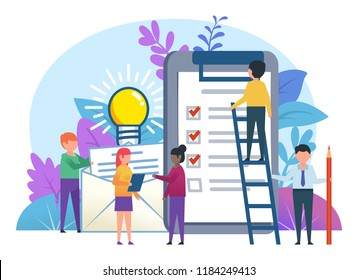 Small people working near big documents, clipboard, to do list. Business planning concept. Business poster for presentation, social media, banner, web page. Flat design vector illustration