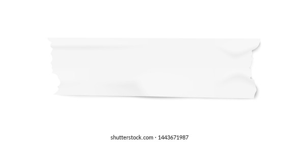 Small piece of adhesive duct tape with realistic paper texture, sticky masking stationery strip with ripped corners and wrinkles isolated on white background - vector illustration