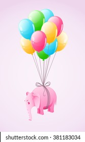Small pink elephant flying at colourful air balloon vector illustration. Transparent objects used for lights and shadows drawing