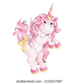 A small pink unicorn stands on its hind legs. Vector cartoon character for children`s birthday card. On a white background.