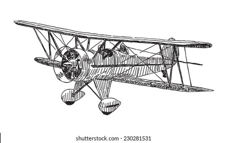 Small plane vector drawing isolated on white background