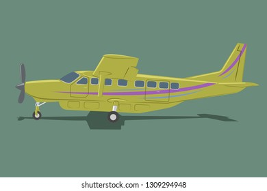 Small plane vector illustration. Big single engine propelled aircraft. Vector illustration. Icon. Turboprop private plane. Regional airliner