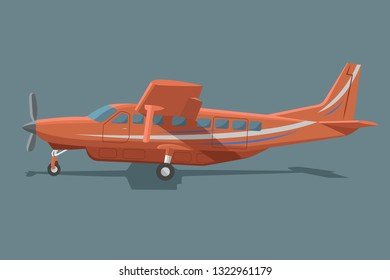 Small plane vector illustration. Big single engine propelled aircraft. Vector illustration. Icon. Turboprop private plane. Regional airliner flat design