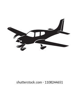 Small plane vector illustration. Single engine propelled aircraft. Vector illustration. Icon. Turboprop private plane