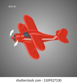Small plane vector illustration. Single engine propelled biplane aircraft. Vintage plane vector illustration.