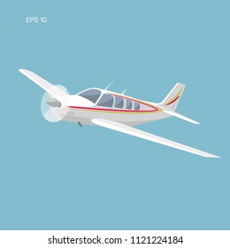Small plane vector illustration. Single engine propelled aircraft. Flat design vector illustration. Icon. Turboprop private plane