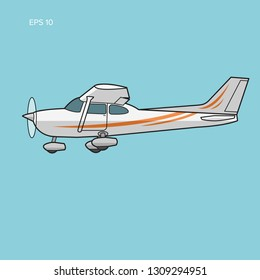 Small plane vector illustration. Single engine propelled aircraft. Vector illustration. Flat design icon. Turboprop private plane