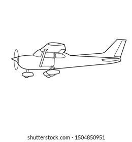 Small plane vector illustration. Single engine propelled aircraft. Vector illustration. Line design icon. Turboprop private plane