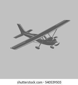 Small plane vector illustration. Single engine propelled light aircraft. Vector illustration. Black/transparent