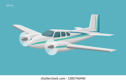 Small plane vector illustration. Twin engine propelled aircraft. Vector illustration. Icon. Turboprop private plane
