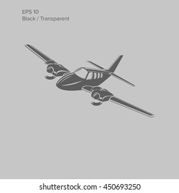 Small plane vector illustration. Twin engine propelled aircraft. Vector illustration