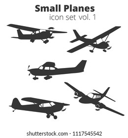 Small planes vector illustration set. Single engine propelled aircraft. Vector illustration. Icon. Turboprop private planes