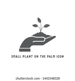Small plant on the palm hand icon simple silhouette flat style vector illustration on white background.