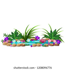 A small pond with blooming flowers isolated on white background. Decor element for landscape design of square or park. Vector cartoon close-up illustration.