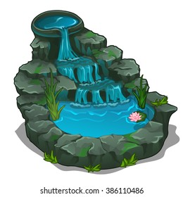 A small pond with a waterfall and water lilies for landscape design isolated on white background. Vector cartoon close-up illustration.