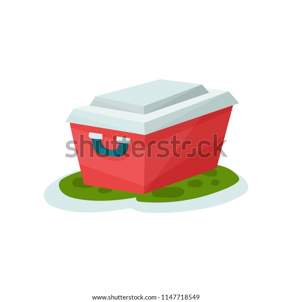 Small portable fridge, outdoor traveling element vector Illustration on a white background