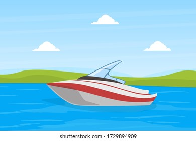 Small Power Boat on Blue River or Lake on Beautiful Summer Landscape Vector Illustration