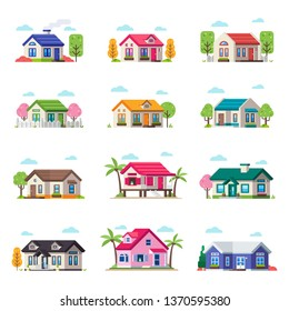 Small Privat House Collection. Vector House Building Set in different type