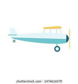 Small private lightweight propeller airplane or retro plane flat vector illustration isolated on white background. Aircraft in flight icon of aviation and air vehicle.