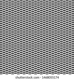 Small rectangular shapes arranged alternately in black and white. Textile pattern. Mosaic. Mesh. Vector illustration.