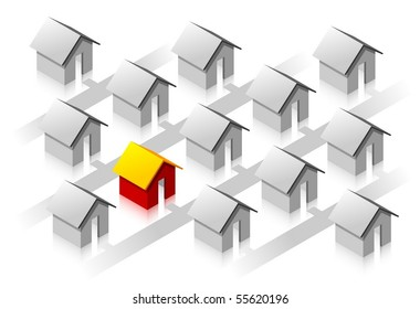 Small red isometric house surround usual grey houses.