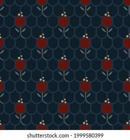Small red tulips ditsy floral motif vine pattern abstract line shapes organic geometric continuous background. Colorful ladies dress modern exquisite fabric design textile swatch all over print block.