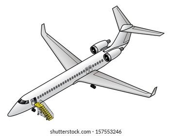 A small regional jet parked with the front door opened and access stairs in place.