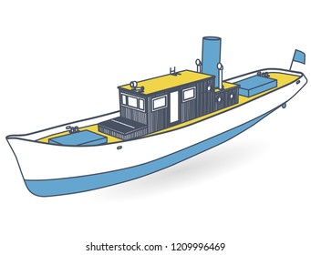 Small river steamer with large chimney. Outlined motor boat. Sea steamship for fishing and leisure time, blue yellow steamboat. Old retro motorboat. Vector illustration, isolated on white background