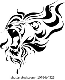 Small roaring lion tattoo and t-shirt design. vector design, easy to print design vector illustration with eps10.