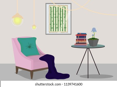 Small room with pink chair, round table and some decor