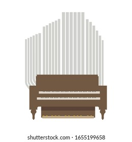 Small room vector wooden brown musical organ with two keyboards for hands and for legs isolated object on the white background.