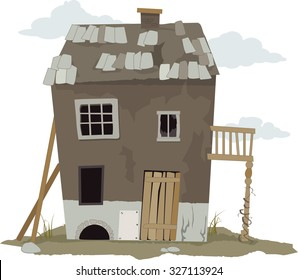 Small, run down, shanty house, vector illustration, ESP 8, no transparencies