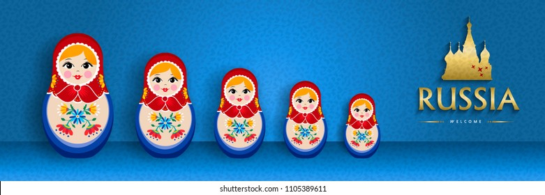 Small russian nesting doll web banner for russia special event. Traditional matrioska woman souvenir with floral dress on blue color background. EPS10 vector.