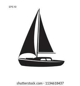 Small sailboat vector illustration. Small boat with sail. Small yacht logo icon