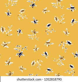 small seamless flowers pattern on yellow background