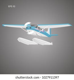Small seaplane isolated vector illustration. Single engine turboprop hydroplane