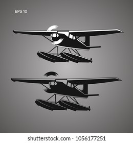 Small seaplane isolated vector illustration. Single engine turboprop hydroplane icon