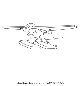 Small seaplane isolated vector illustration. Single engine turboprop hydroplane icon line art