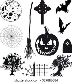 Small set of black icons for Halloween isolated on white