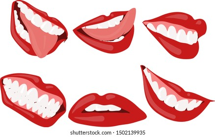 A small set of silhouettes of female lips with different emotions.