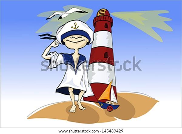 Sailor. Cute cartoon illustration of a sailor.