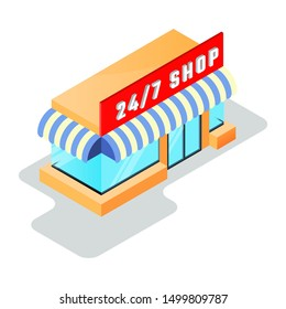 Small shop, minimarket with store sign 24 7 open. Round the clock, day and night, twenty fout hour work, online shopping, e-commerce concept. Isometric vector icon isolated on white background.
