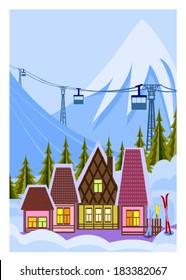 Small ski resort. Vector illustration of ski resort and mountain Nature. Vector file is EPS8, all elements are grouped.