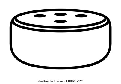 Small smart speaker virtual assistant line art vector icon for apps and websites