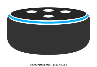 Small smart speaker virtual assistant flat vector color icon for apps and websites