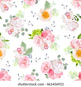 Small spring bouquets of rose, peony, camellia, orchid, carnation, hydrangea, blue berries and eucalyptus leaves. Seamless vector print on white background.
