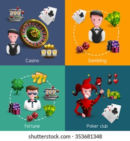 Small square 2x2 banners set of specific casino caracters with few spatial icons each cartoon vector illustration