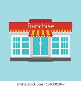 Small store or franchise isolated on blue background. Franchise business concept, franchise marketing system vector illustration.