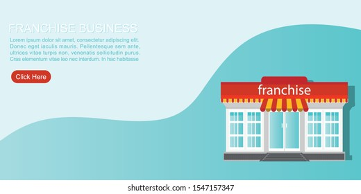 Small store or franchise templated isolated on blue background. Franchise business concept, franchise marketing system vector illustration.